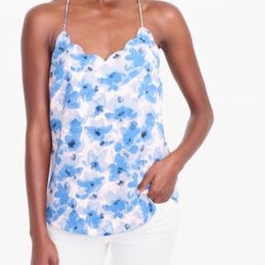 J.Crew Scalloped Cami | Blue Floral | Size 4
